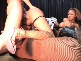 Hot ebony threesome in a black porn video