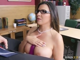 danica dillon demonstrating her skills on a dildo and then on his dick
