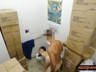 Pretty babe gets boned by pawnshop owner in the toilet