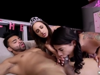 Ashley and Gina enjoy celebrating by ravishing a handsome stud