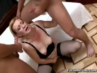 Dirty mature blonde slut with sexy booty enjoys threesome