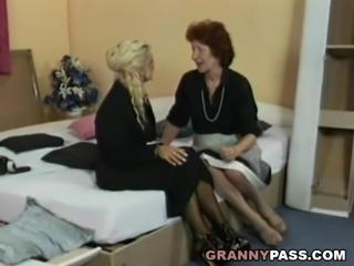 Lesbian Granny Fucks Busty Blonde MILF With Strapon