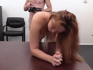 Redhead Paige vibrating her twat and sucking a throbbing rod