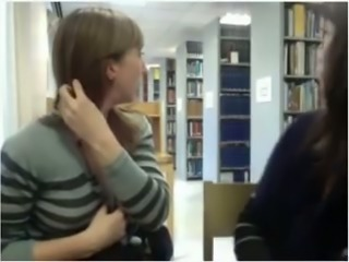 My lusty GF and me will show you hot lesbian show in the library