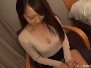 Asian Misaki Kanna just got her wedding ring and wants to celebrate