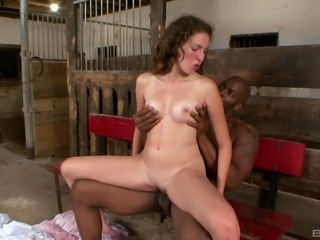 White chick with a juicy booty poked by the black cock in the barn