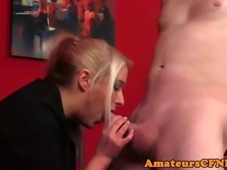 cfnm femdom wanks cock while fingering ass