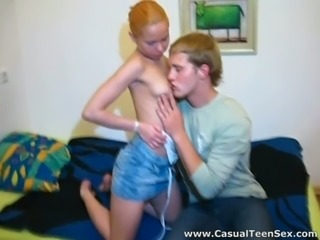 Tight and nasty teen riding dick of a young man in bed