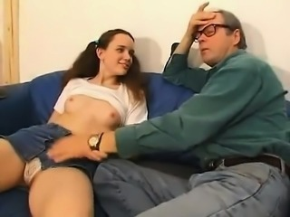 Hot babe fingering her pussy and giving blowjob