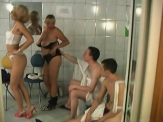 Group sex in a shower