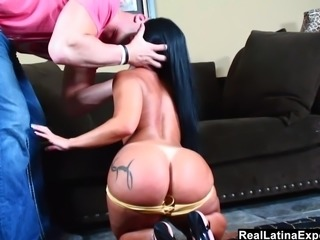 Big Assed Latina gets a giant relentless cock deep in in ass