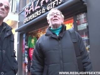 Naughty hooker lets the old man fuck her bareback