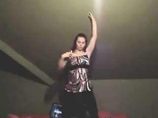 Coed shows off her dance skills