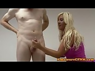 Fullyclothed british milf jerks dick nicely