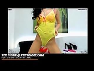 Lingerie Babe shows her Feet | FeetCamz.com