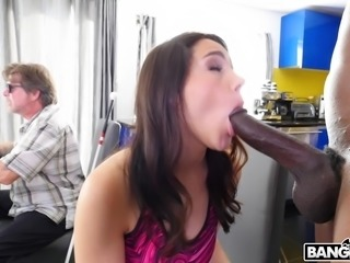 While her old husband is chowing down on food, sexy Italian goddess,...