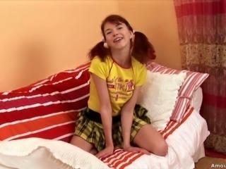 Cute as fuck redhead teen Aicha enjoys big beads in her coochie