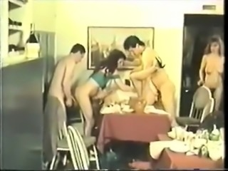 Vintage group sex with two brunettes