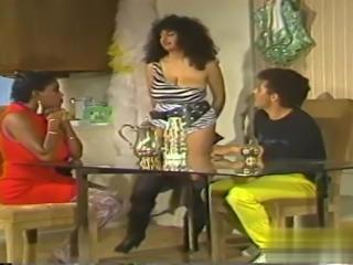 Threesome classic sex with hot ebony