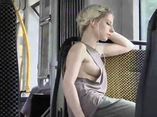 Beautiful blonde flashes her tight snatch in public places