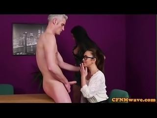 Busty babes humiliate and strip submissive