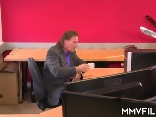 Lustful German secretary Kitty Blair seduces her boss to be fucked on table