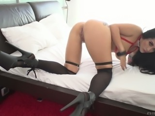 Bent over eye-catching black head Katrina Jade takes fat prick in her anus