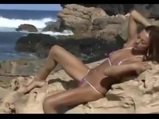 Nude Beach - Hot Brunette Posing - Great Upshots