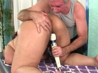 Nerdy obese brunette Miss Lingling lets pervert masturbate her wet pussy