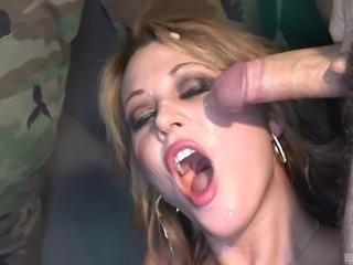Nasty American girl in a super hot and kinky bukkake scene