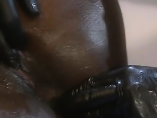 Latex guys smashing an extremely juicy ebony bitch