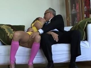Breasty slut gets into some hardcore fucking with older chap