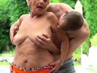 Pot belly grandma fucked