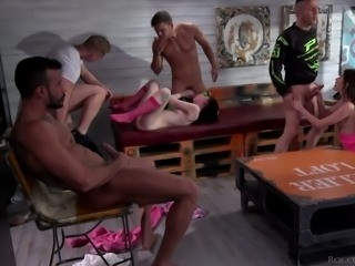 Dirty slut Charlotte Sartre is actually ready to be mouthfucked by studs