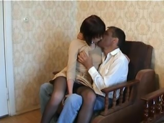 Brunette teen in nylon pantyhose fucks with an older guy