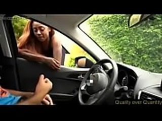 Dick flash in the car get blowjob