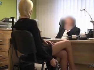 Long legged fabulous blonde Karol rides loan debtor's stiff boner cock