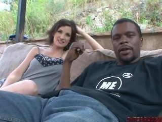Petite girl sucks huge black dick before sex