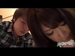 Kinky japanese older licks her lover all over his body