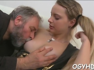Young beauty enjoys old hard jock entering her pussy