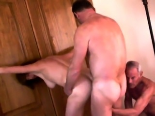 Kinky old man shares his busty redhead wife with a friend