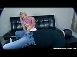 blonde Vanessa Cage teen gives a bondage handjob
