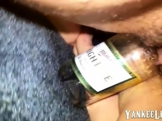 hairy pussy fucking beer bottle