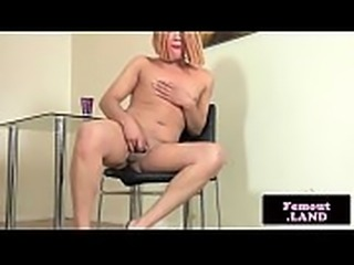 Seductive trans babe tugs her hard cock