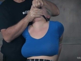 Big breasted whore Nadia White gets tied up during wild BDSM workout