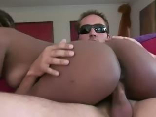 ebony tries white dick