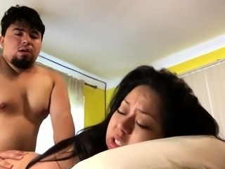 Chubby Oriental babe with big hooters gets plowed doggystyle
