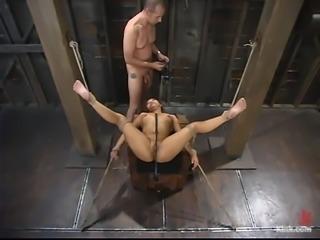 Horny Asian siren gets bondaged and fucked hard