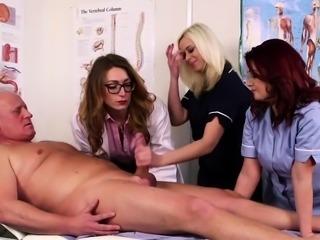 CFNM doctor babe teaches nurses how to suck