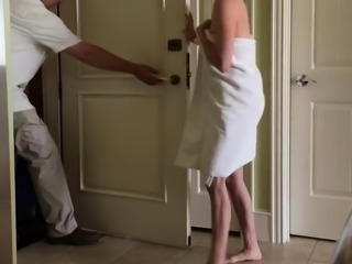 Wife towel drop flashing bellman at hotel